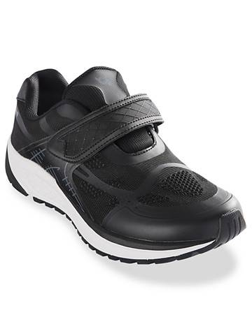Propet Big & Tall Propet Strap Walking Shoes - Black/Dark Grey