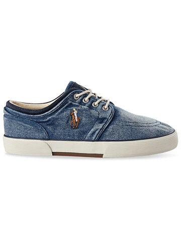 Ralph Lauren Big & Tall Polo Ralph Lauren Washed Denim Faxon Shoes - Blue