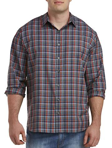 Synrgy Big & Tall Synrgy Plaid Sport Shirt - Granite Heather