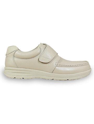 Nunn Bush Big & Tall Nunn Bush Cam Moc Toe Velcro Strap Shoes - Bone