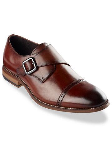 Stacy Adams Big & Tall Stacy Adams Desmond Cap-Toe Monk Strap Dress Shoes - Cognac
