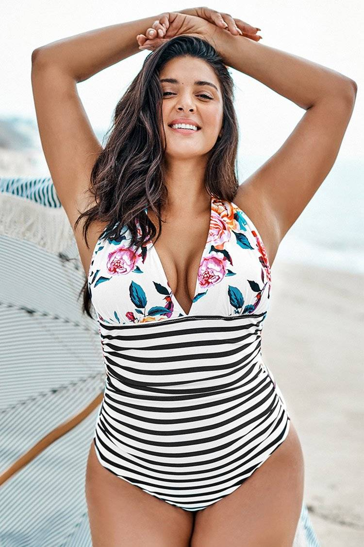 Apparel & Accessories  Clothing  Swimwear Bold Floral and Stripe Plus Size Halter One Piece Swimsuit