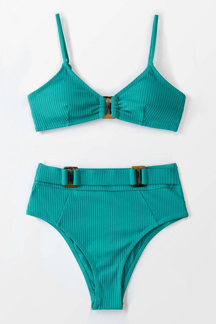 Apparel & Accessories  Clothing  Swimwear Ribbed Buckle High Waisted Bikini