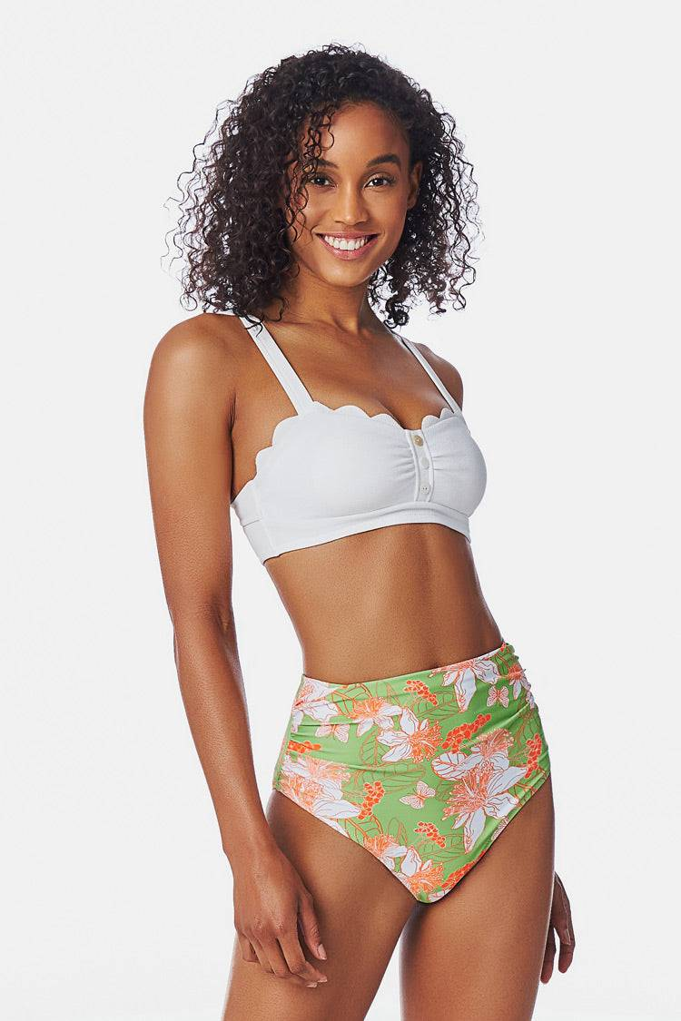 Apparel & Accessories  Clothing  Swimwear White and Floral High Waisted Bikini