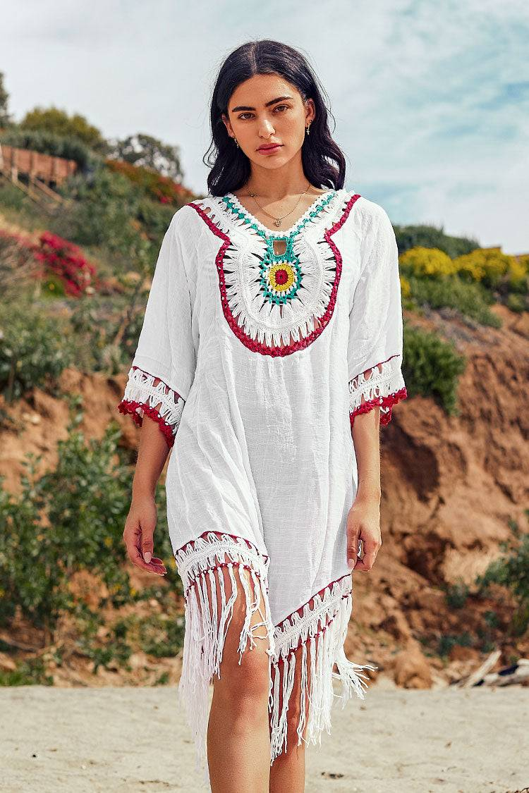 Apparel & Accessories  Clothing  Swimwear Boho Crochet Cover Up with Fringe