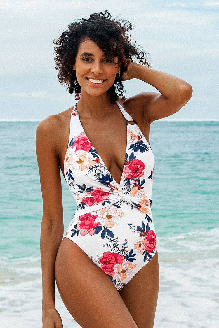 Apparel & Accessories  Clothing  Swimwear Floral Plunge Halter One Piece Swimsuit