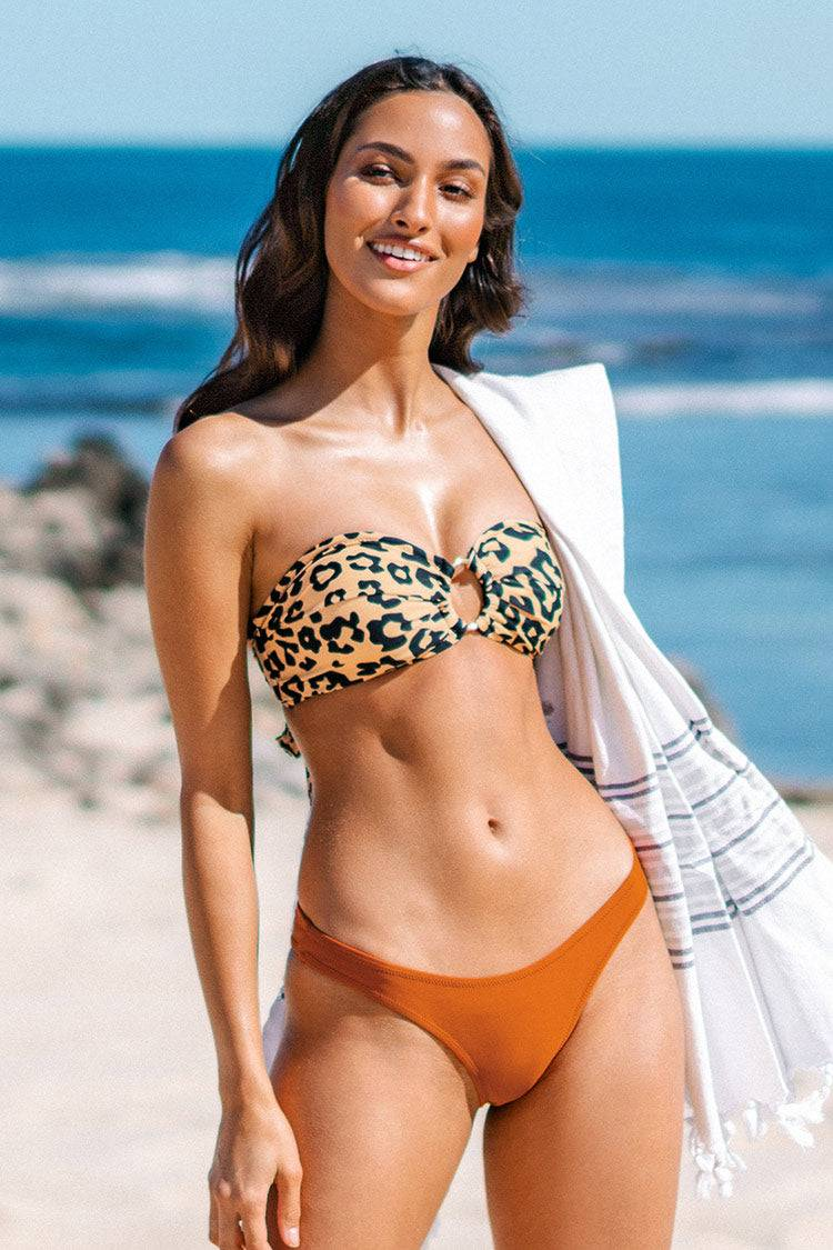 Apparel & Accessories  Clothing  Swimwear Leopard O-Ring Bandeau Bikini