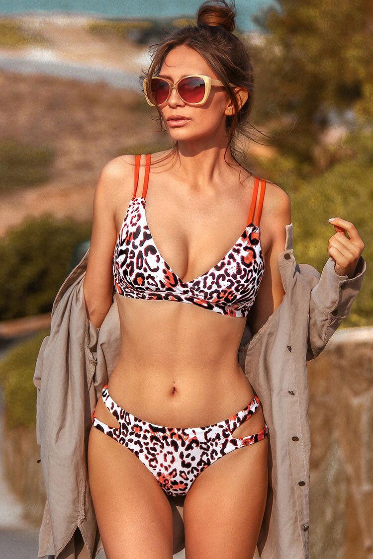 Apparel & Accessories  Clothing  Swimwear Orange Trim Leopard Print Strappy Bikini