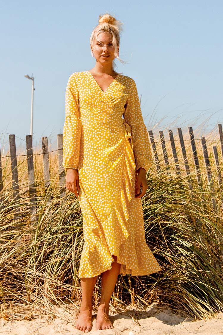 Apparel & Accessories  Clothing  Dresses Yellow Polka Dot Wrap Dress