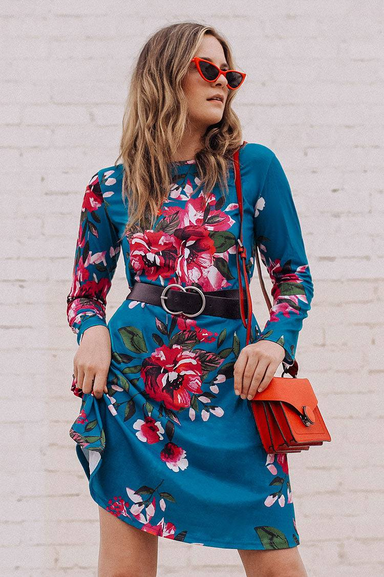 Apparel & Accessories  Clothing  Dresses Floral Print Long Sleeve Dress