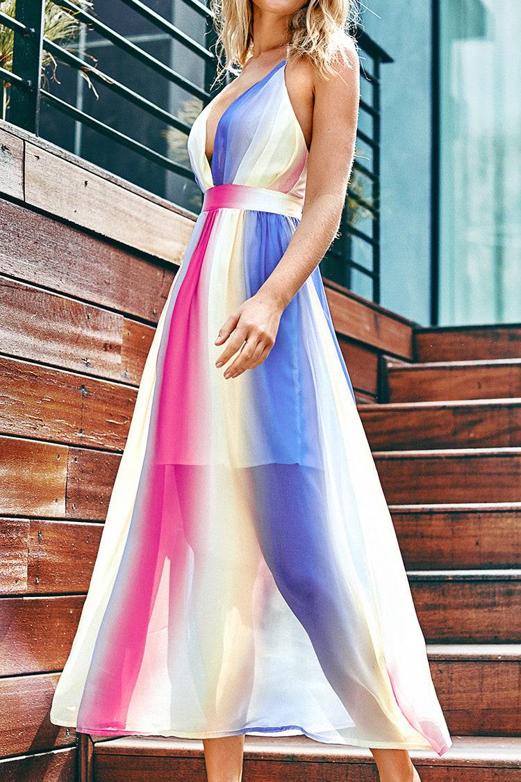 Apparel & Accessories  Clothing  Dresses Rainbow Maxi Dress with Plunging Neckline