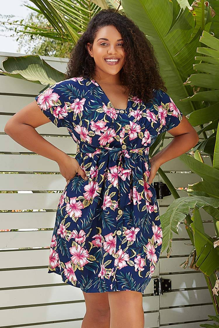 Apparel & Accessories  Clothing  Dresses Navy Floral V-Neck Plus Size Dress