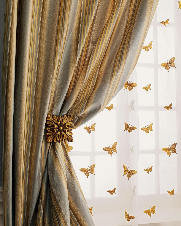 """Home Silks Each 96""""L Milano Striped Curtain - BLUE"""