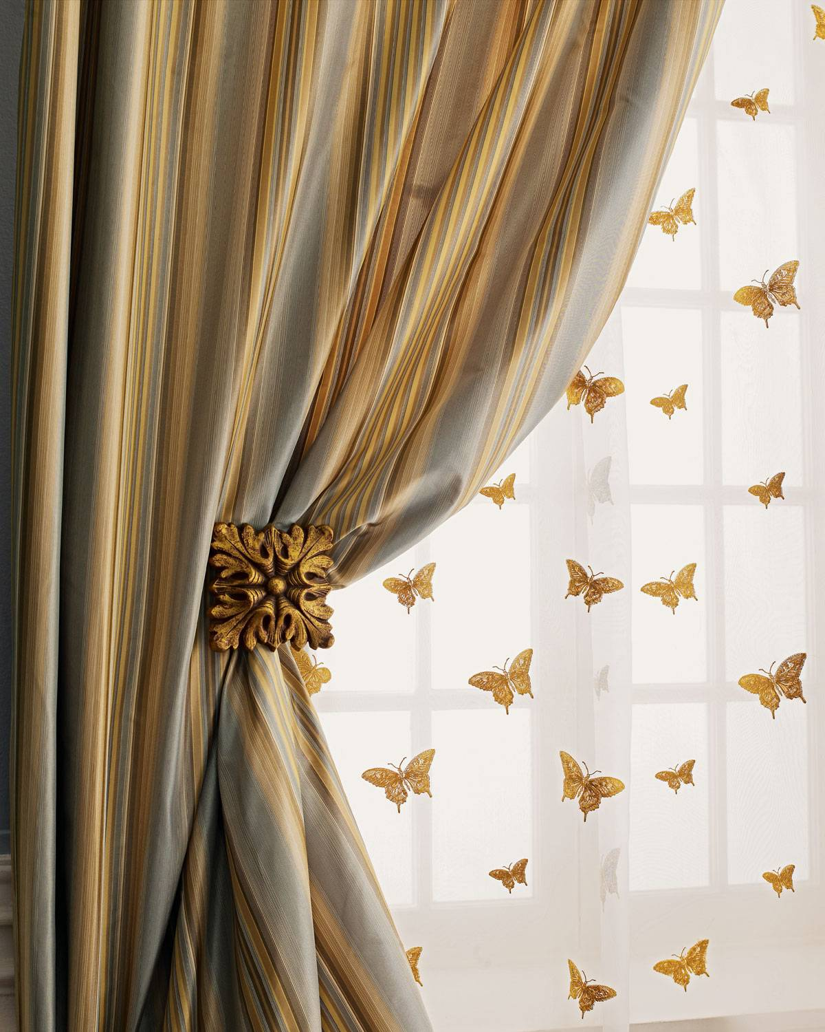 "Home Silks Each 84""L Butterfly Sheer"