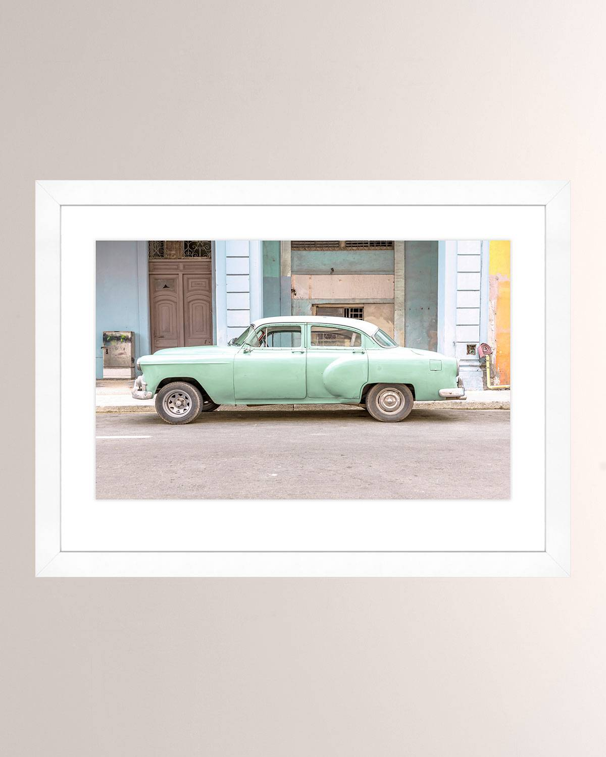 Green Cuban Car Giclee Photo On Paper Wall Art With Frame