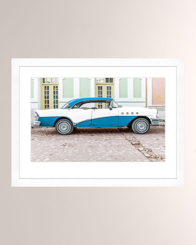 Blue White Cuban Car Photo Print With Wood Frame