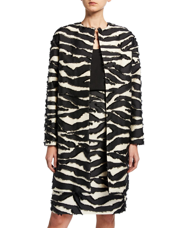 Oscar de la Renta Zebra-Stripe Jacquard Car Coat