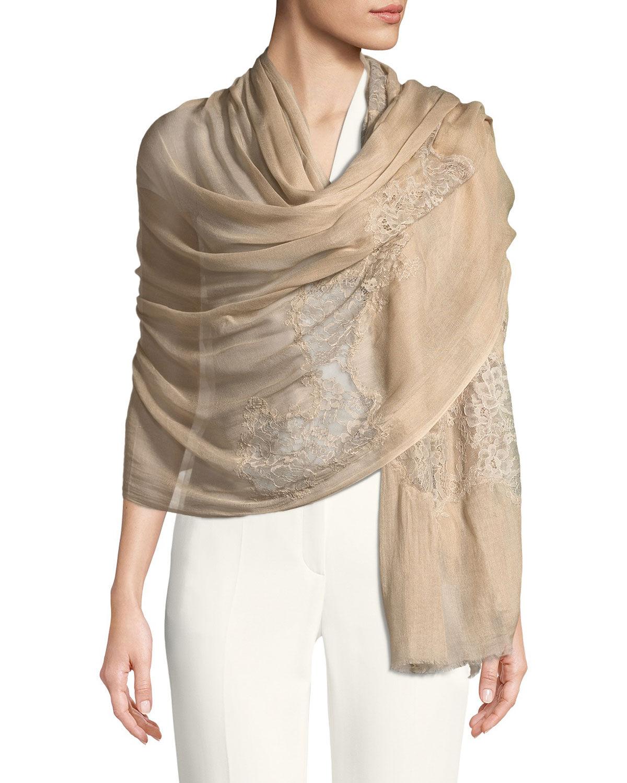 Bindya Accessories Opposite Attraction Lace-Trim Stole, Beige