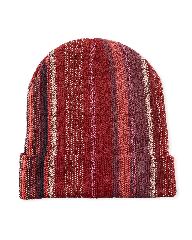 Missoni Accessories Wool-Blend Metallic Striped Knit Hat