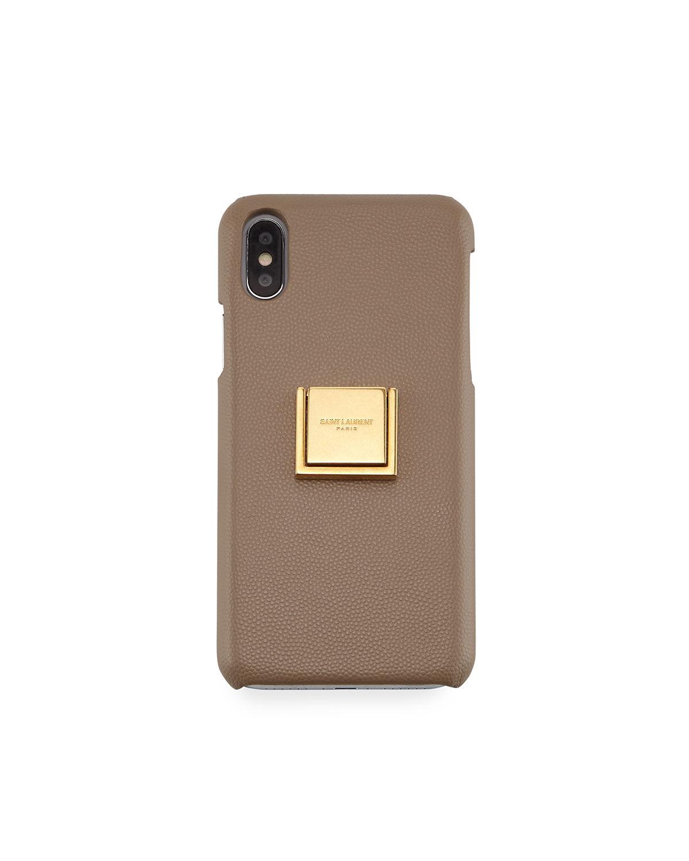 Saint Laurent iPhone XS Leather Finger-Ring Phone Case