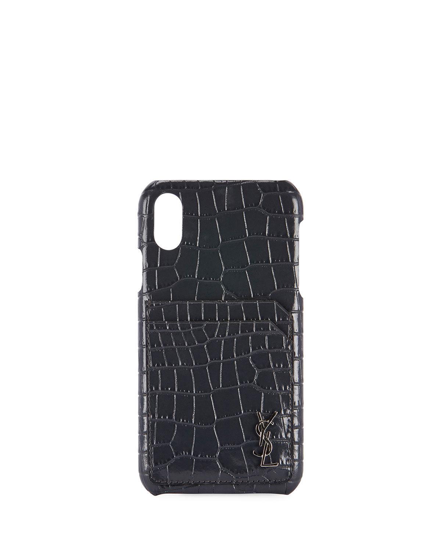 Saint Laurent Crocodile-Embossed Phone Case, iPhone XS