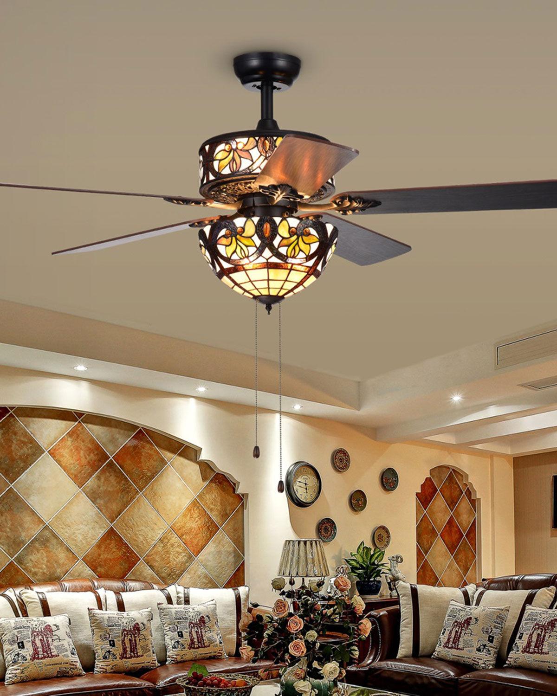 Home Accessories Jyrku Lotus Leaf Glass Chandelier Fan