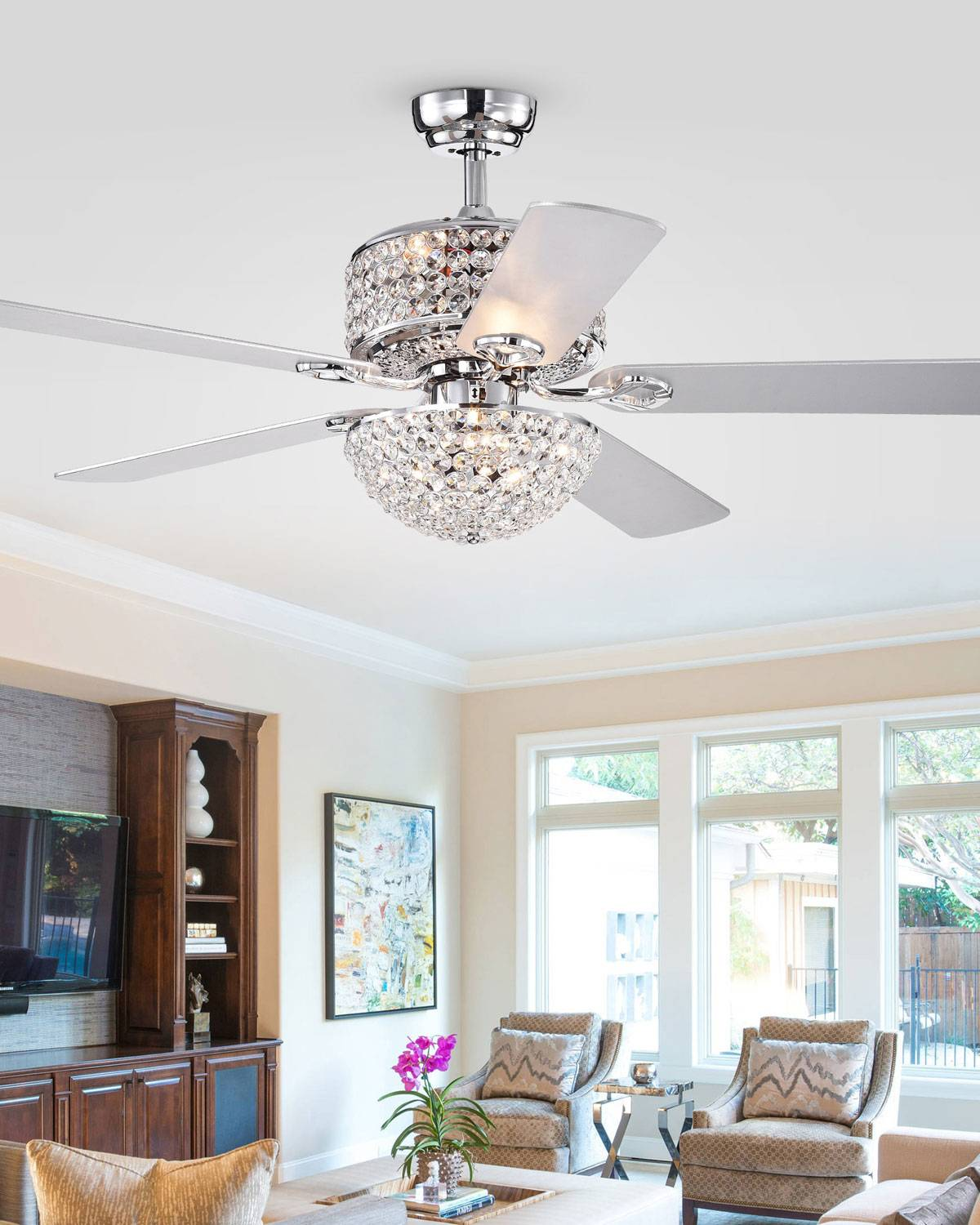 Home Accessories Two-Tier Prismatic Crystal Chandelier Ceiling Fan