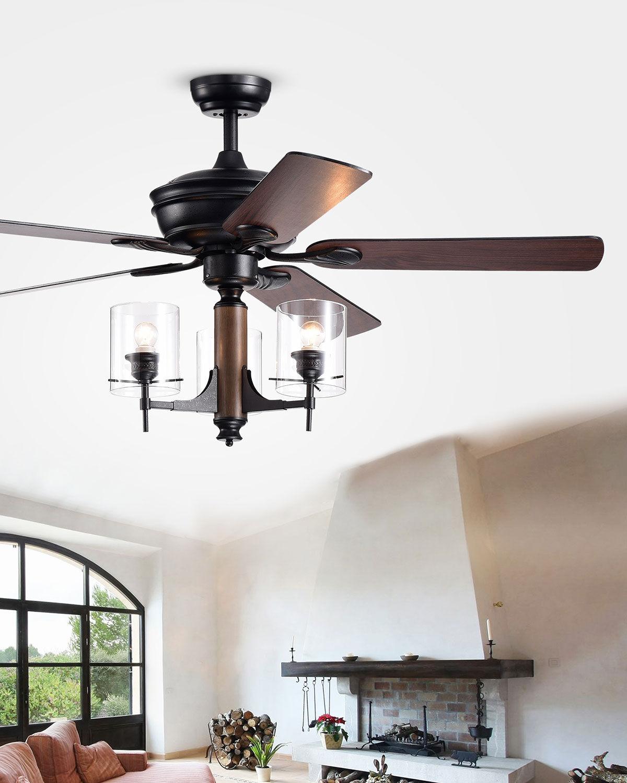 Home Accessories Glass Pillar Chandelier Ceiling Fan