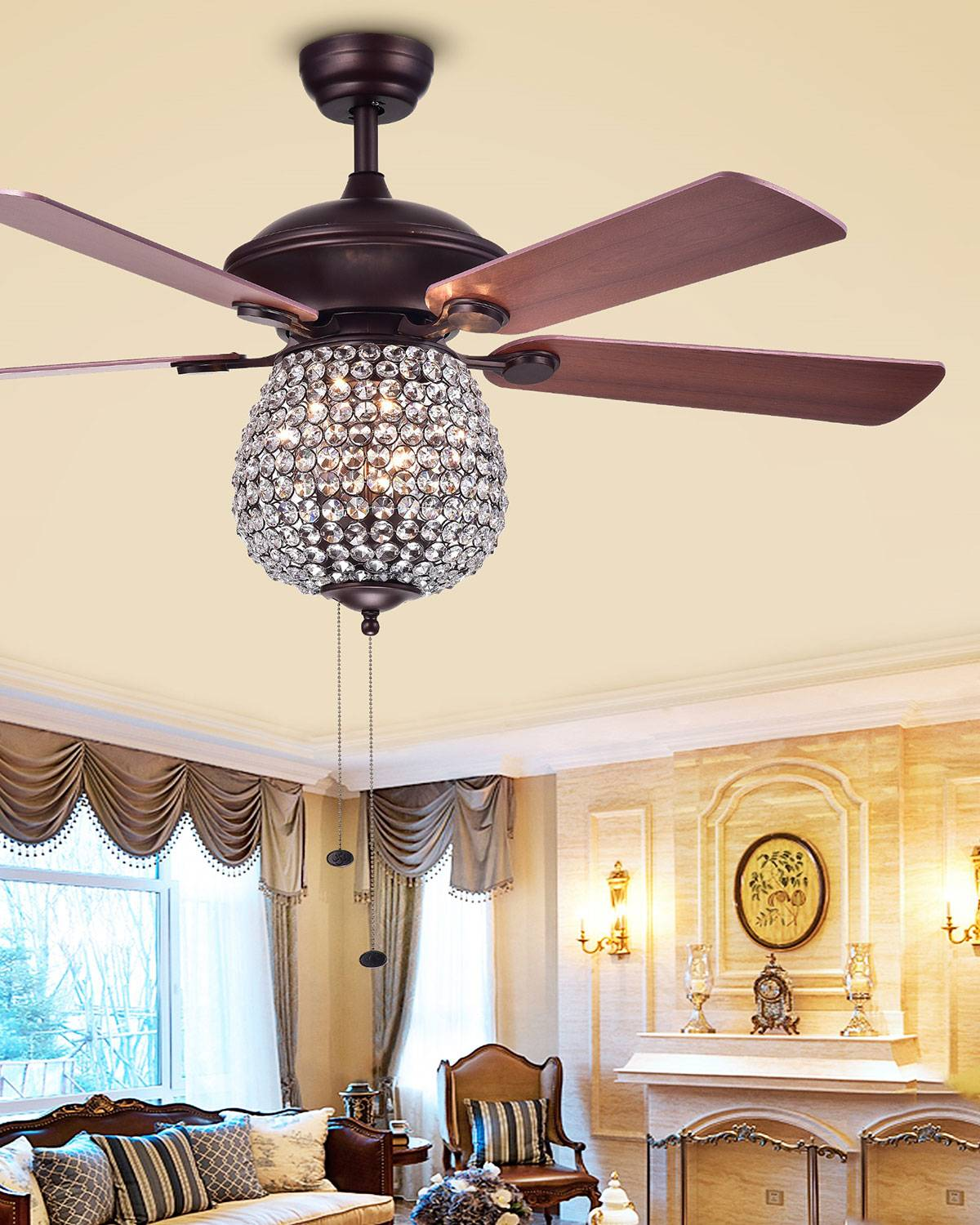 Home Accessories Embedded Crystal Chandelier Ceiling Fan
