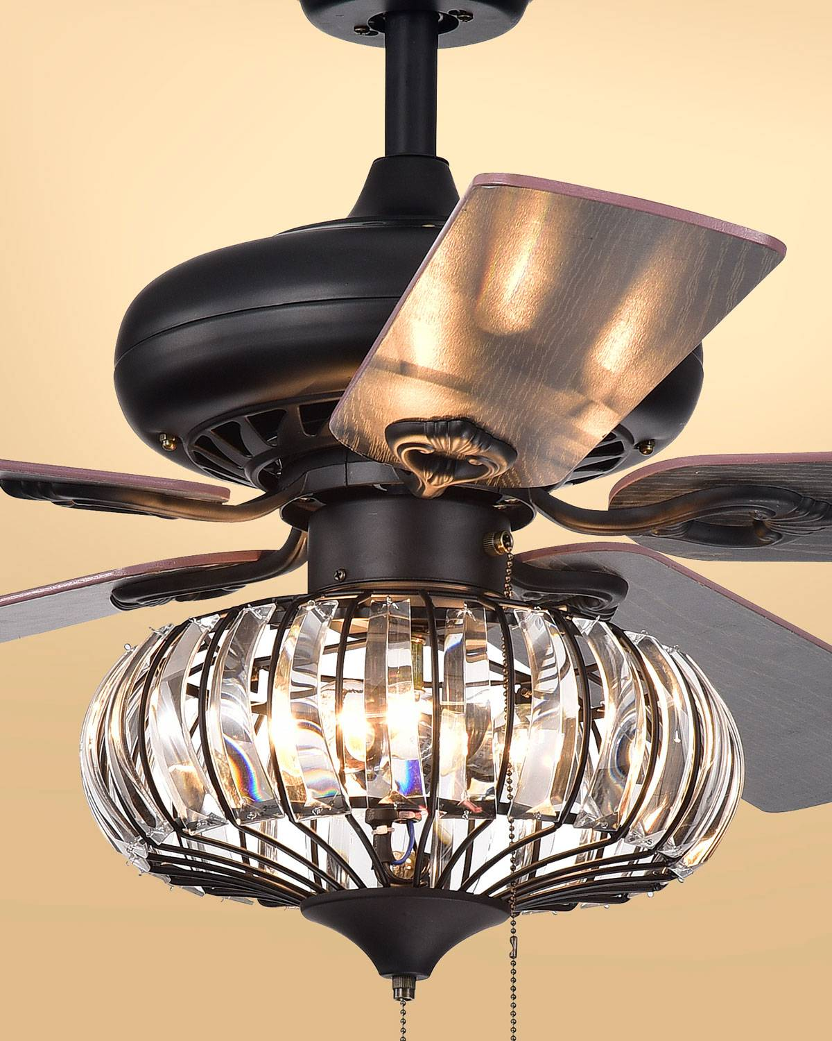 Home Accessories Chrysaor Curved Crystal Chandelier Ceiling Fan