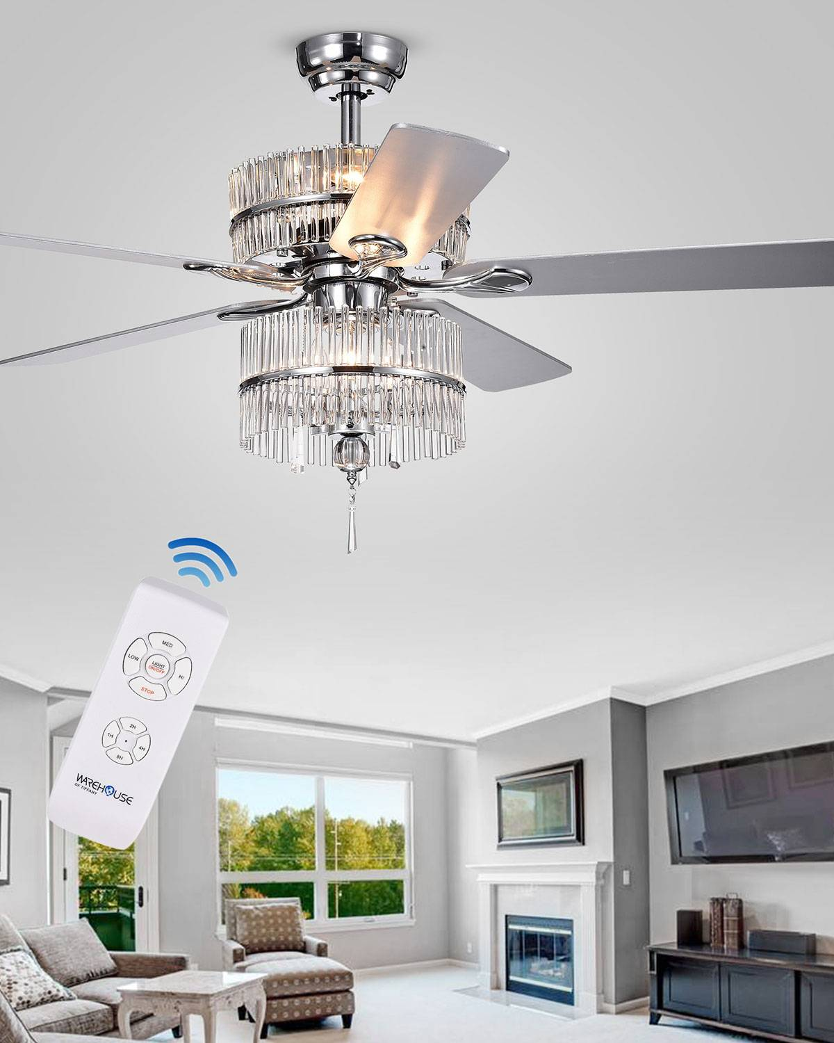 Home Accessories Stacked Crystal Rod Chandelier Ceiling Fan