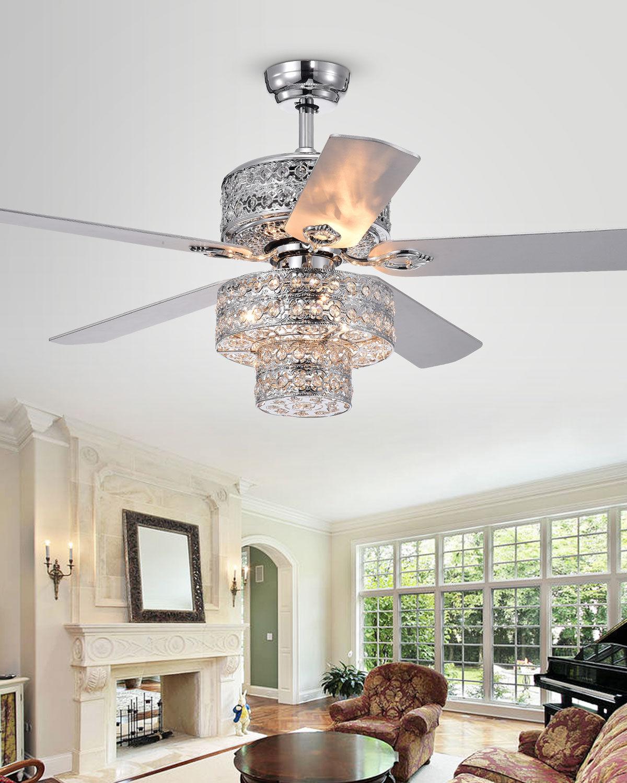 Home Accessories Two-Tier Metalwork Chandelier Ceiling Fan