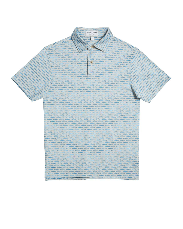 Peter Millar Boy's Car-Print Jersey Polo Shirt, Size XS-XL