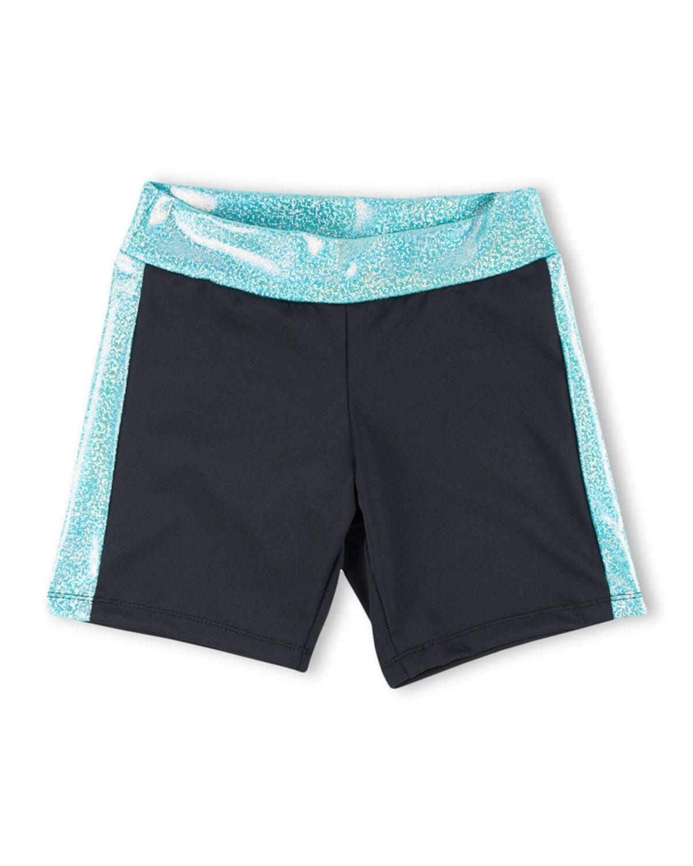 Girl Power Sport Active Bike Shorts w/ Sparkly Waistband, Size XS-L