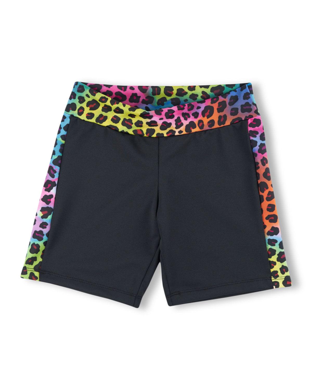 Girl Power Sport Rainbow Leopard-Trim Bike Shorts, Size XS-L