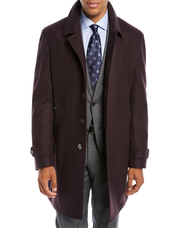 Neiman Marcus Men's Solid Wool Car Coat
