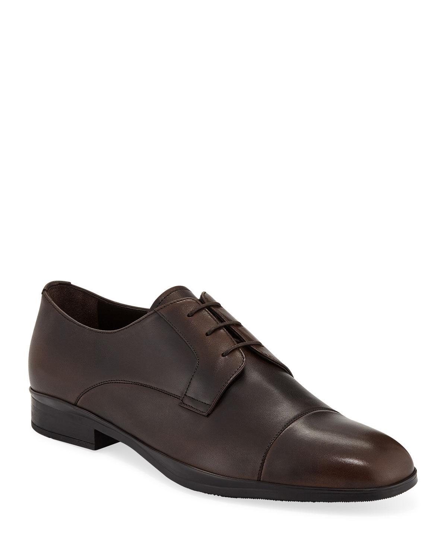 Prada Men's Bristol Vitello Leather Lace-Up Dress Shoes