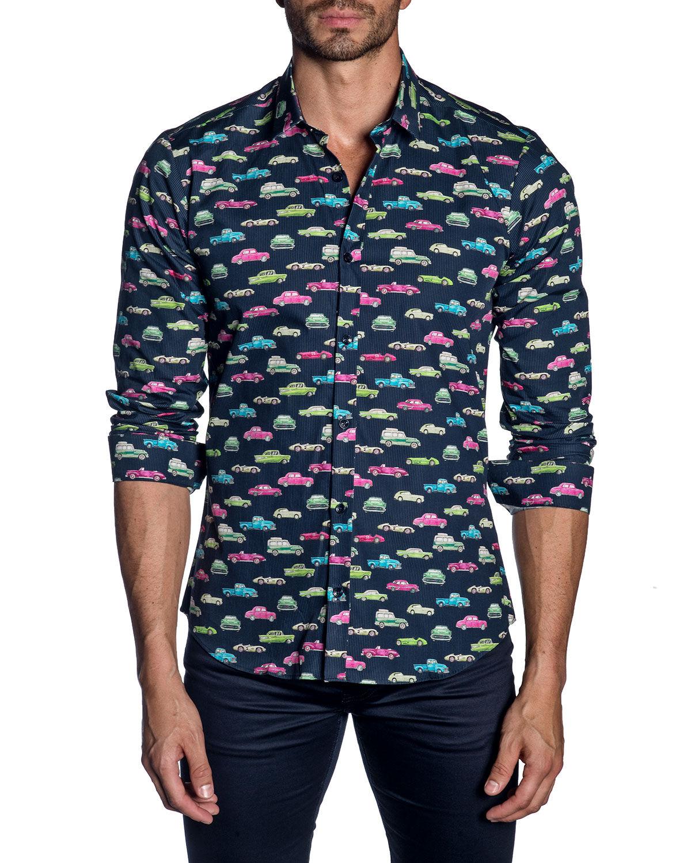 Jared Lang Men's Long-Sleeve Car Print Sport Shirt