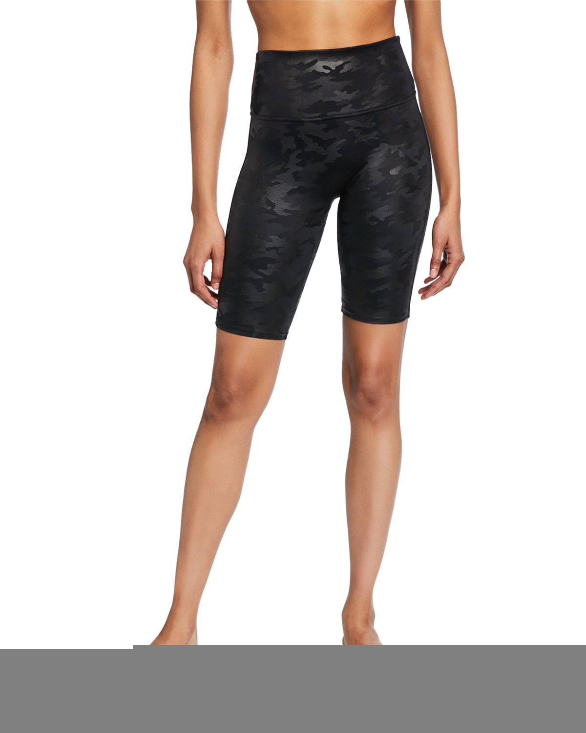Spanx Faux-Leather Camo Bike Shorts