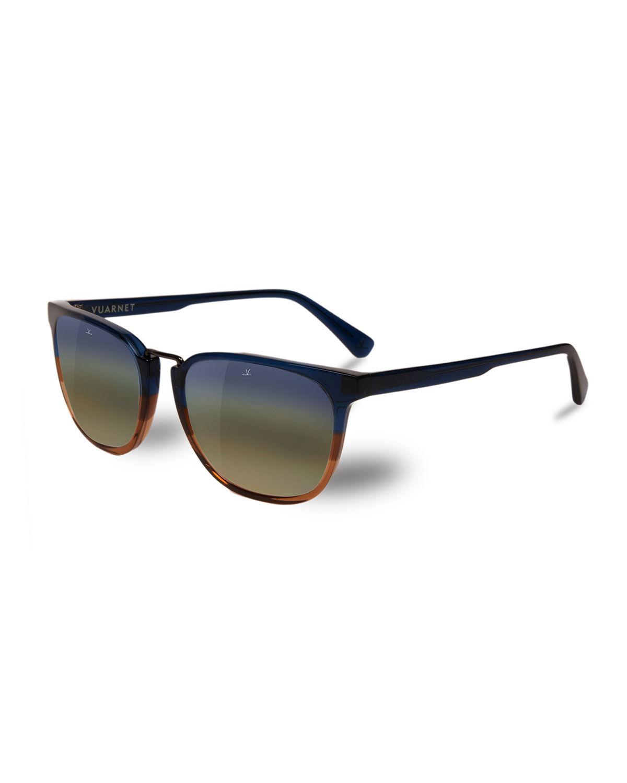 Vuarnet Men's Cable Car Square Flash Stainless Steel/Acetate Sunglasses