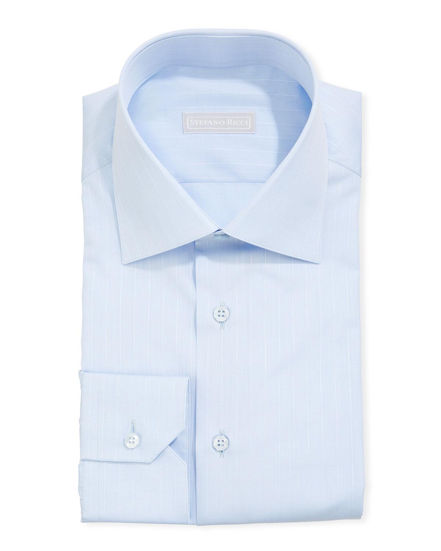 Stefano Ricci Men's Asti Striped Sport Shirt, Light Blue/White - Size: 46 EU (18 US)