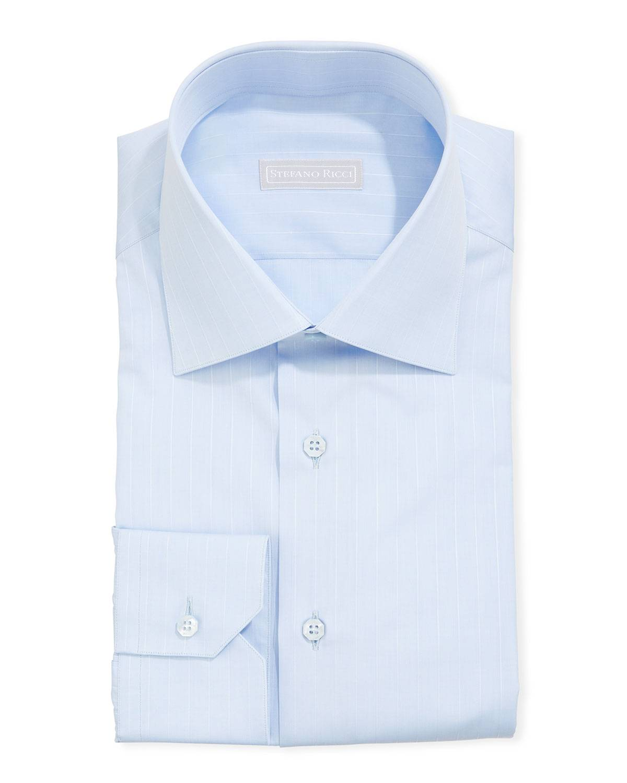 Stefano Ricci Men's Asti Striped Sport Shirt, Light Blue/White - Size: 42 EU (16.5 US)