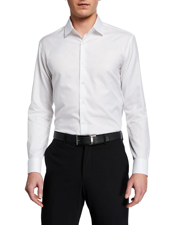 Salvatore Ferragamo Men's Tonal Gancini Sport Shirt - Size: Small