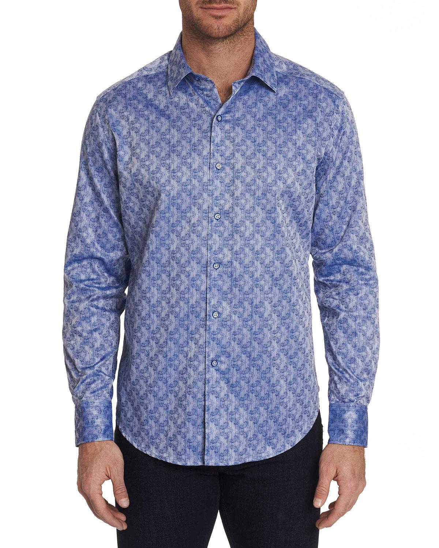 Robert Graham Men's Kane Graphic Satin Sport Shirt - Size: Small