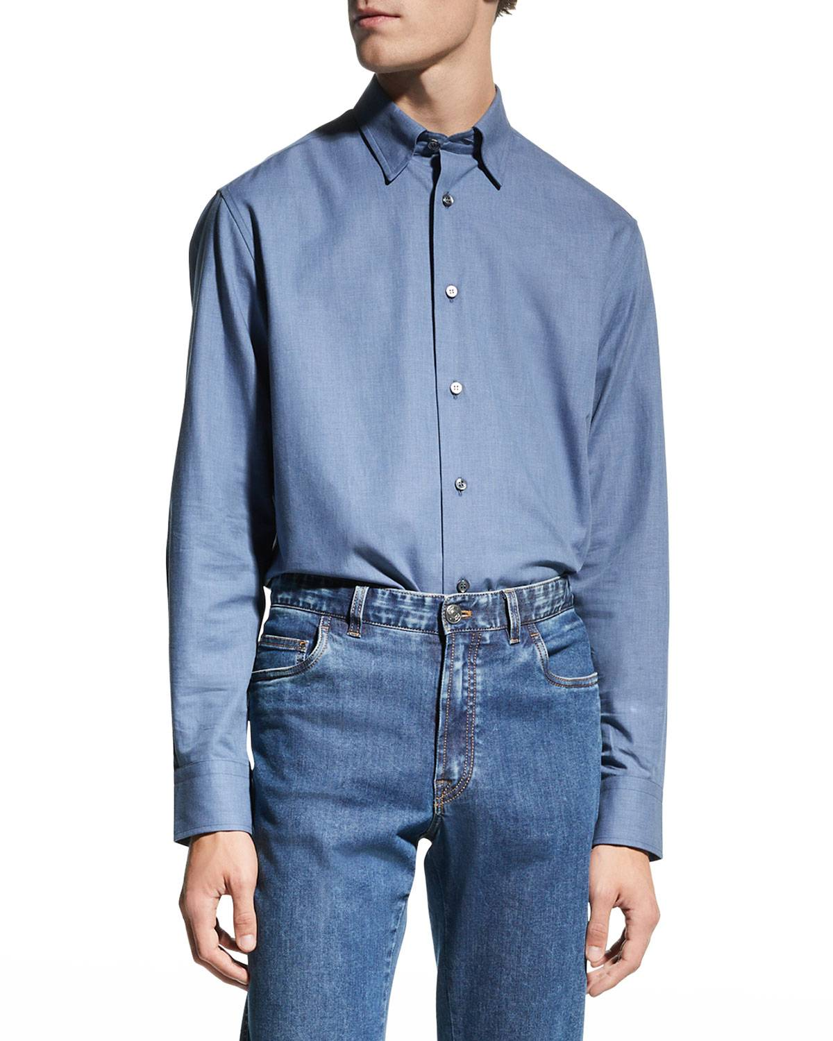 Brioni Men's Solid Chambray Sport Shirt - Size: 2X-Large