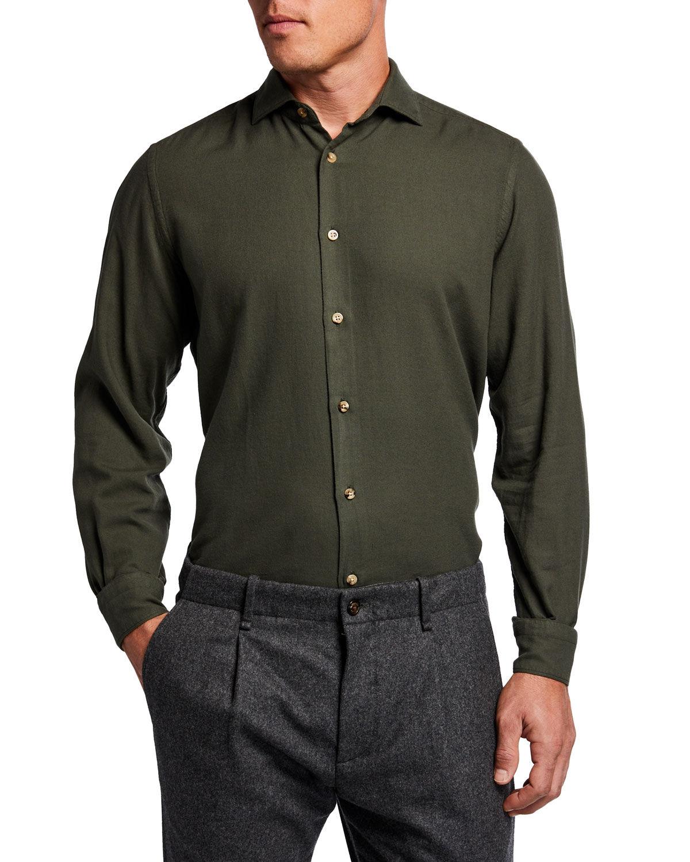 Boglioli Men's Solid Cotton-Blend Sport Shirt - Size: 43 EU (17 US)