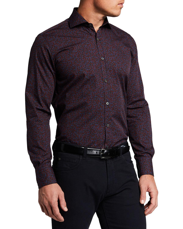 Canali Men's Mixed Print Sport Shirt - Size: Small
