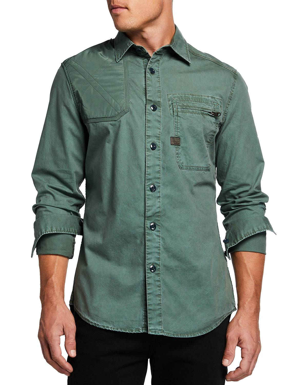 G-Star Men's Hunting Slim Sport Shirt w/ Zip Pocket - Size: Small
