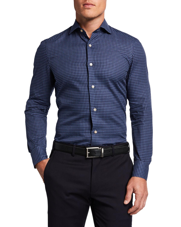Boglioli Men's Gingham Check Sport Shirt - Size: 38 EU (15 US)