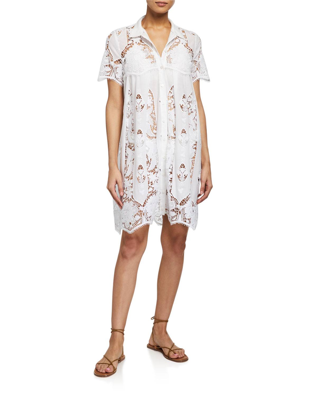 Miguelina Alanna Coverup Dress w/ Granadilla Cotton Embroidery - Size: Small